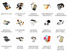 Accessories and parts for mobile phones